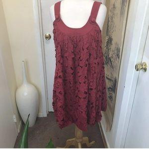 Tracy Reese New York Red mini linen Dress Shirt
